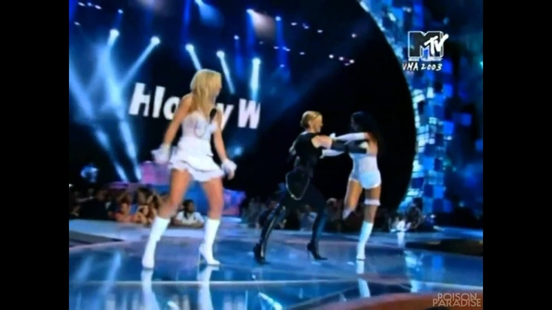 Madonna, Britney Spears and Christina Aguilera - (Like A Virgin Hollywood Medley) MTV VMA 2003 HD