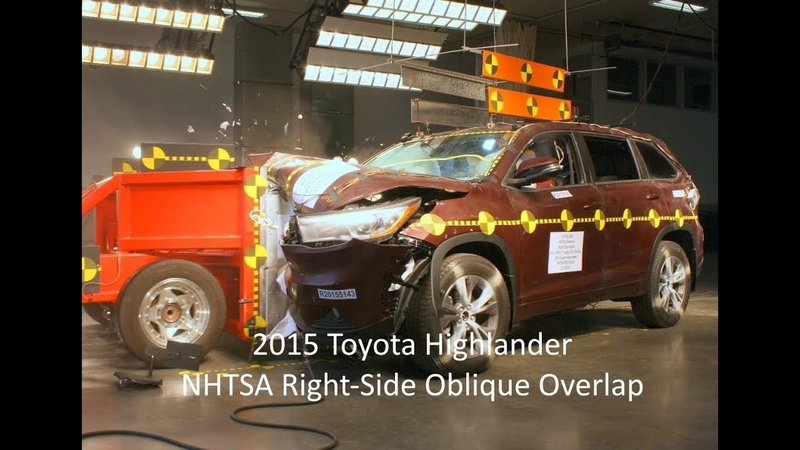 2014-2019 Toyota Highlander NHTSA Oblique Overlap Crash Test (Right Side)