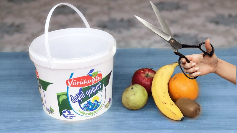 Plastik Yoğurt Kovası İle Çok Kolay Geri Dönüşüm Best Reuse Idea With Plastic Yogurt Bucket