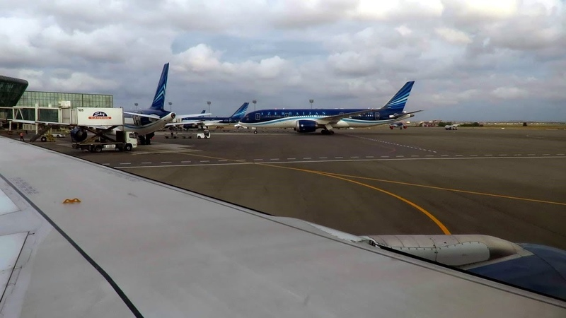 Azerbaijan Airlines A319 Wing View Takeoff from WINDY Baku Airport, Azerbaijan!