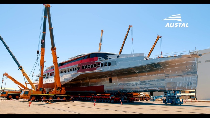 Austal Hull 396 Queen Beetle 83 metre Trimaran Rollout and Superstructure Lift