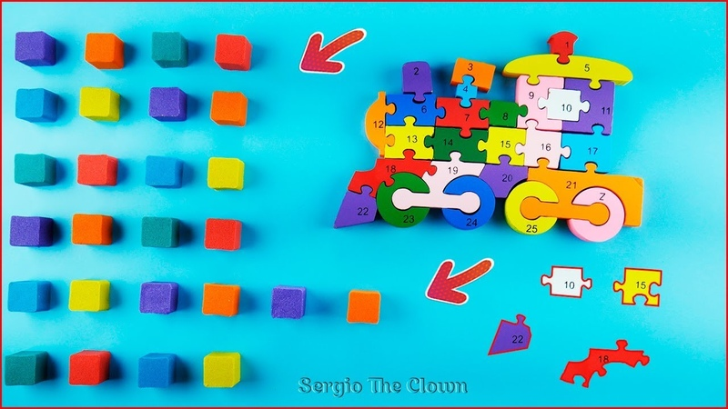 Counting Cubes from Kinetic Sand | Wooden Puzzle Train for kids | Sergio the Clown