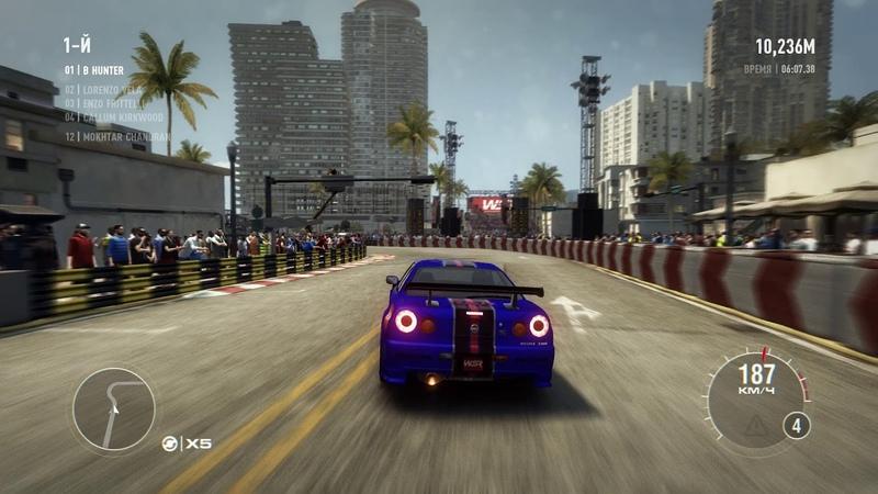 Игра гонки Grid 2 геймплей - игра симулятор на Nissan Nismo Miami gameplay