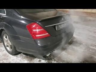 Громкий и басовитый выхлоп на Mercedes S500 W221