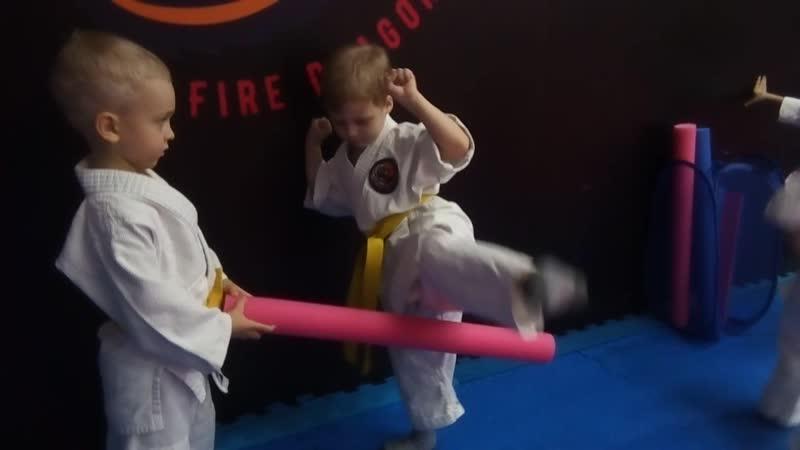 Комплексная тренировка единоборствами с детьми 4-5 лет. Ч.5.