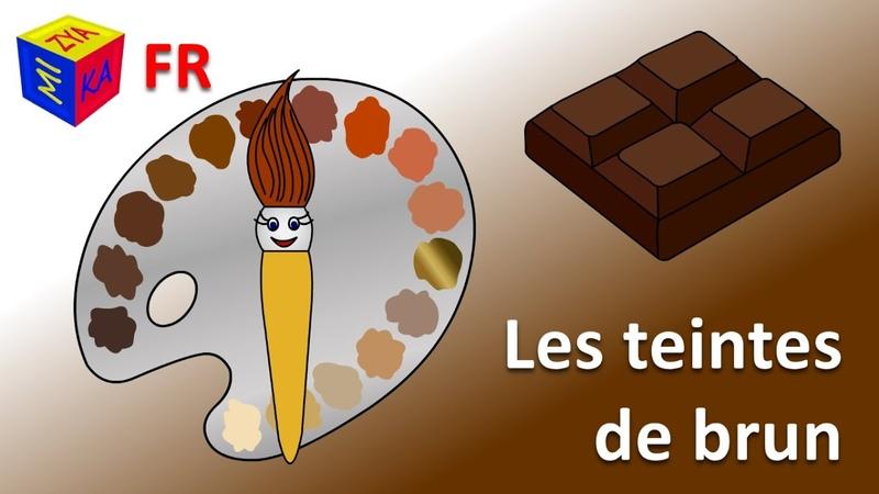 Apprenre les couleurs avec un pinceau magique les teintes de marron. Dessin animé en français