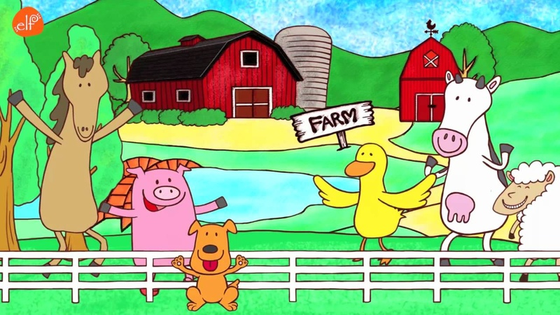 Farm Animals Song Animals Sounds Song Walk Around the Farm ELF Learning
