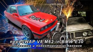 пере SWAP V8 M62 in BMW E30 Part4 Подрамник