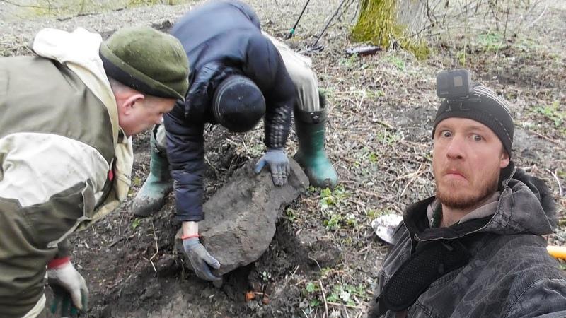 СДВИНУЛ ЗАКЛАДНОЙ КАМЕНЬ А ПОД НИМ СУПЕР ШУРФ ФУНДАМЕНТА Digging with a MD