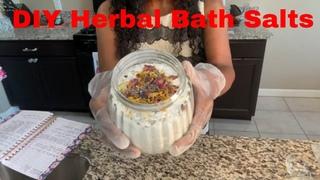 DIY Herbal Bath Salts with Dried Organic Flowers & Lemongrass Essential Oil