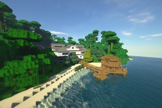 домик в лесу коло моря в майнкрафт #1
