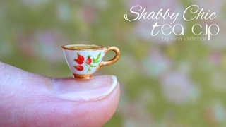 Miniature Shabby chic tea cup for doll ☕️ Easy polymer clay tutorial