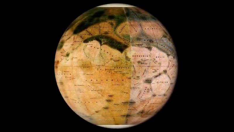 Современная карта Марса и карта, составленная итальянским астрономом Эженом Мишелем Антониади в начале XX века.