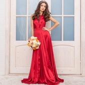 Атласное длинное вишнёвое платье