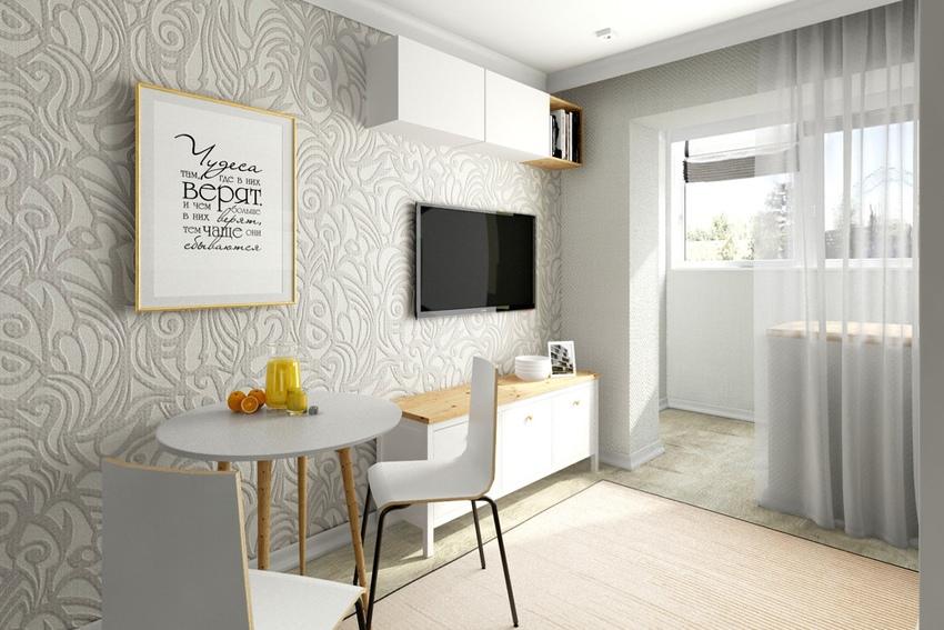 Проект квартиры-студии 24 м с присоединенной лоджией для мамы с двумя детьми.