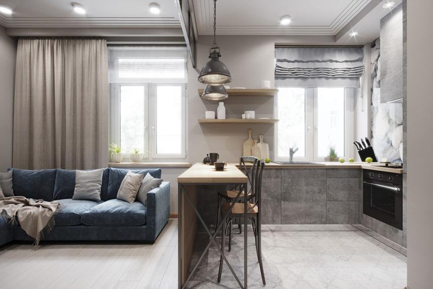 Проект квартиры-студии 27 м квадратной планировки.