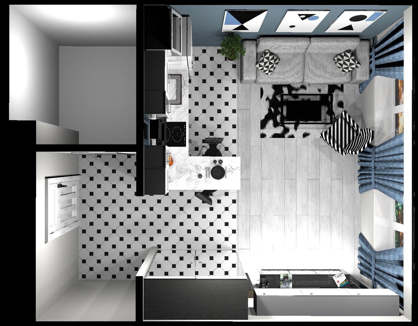 Проект кухни-гостиной 20 кв/м .