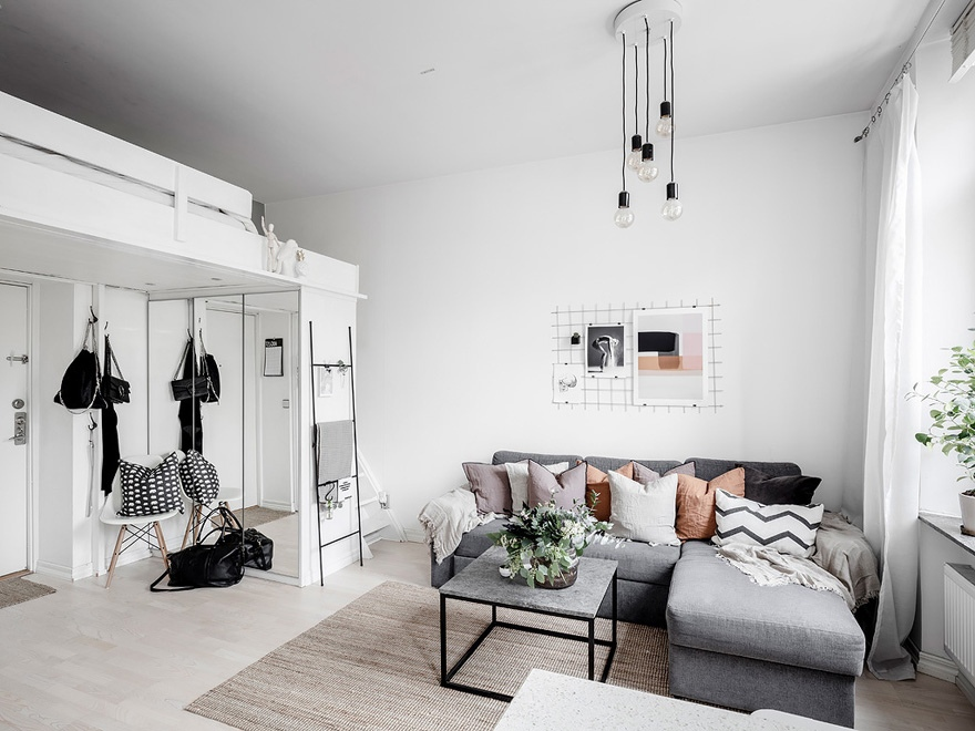 Скандинавская квартира-студия 32 м со спальным чердаком.