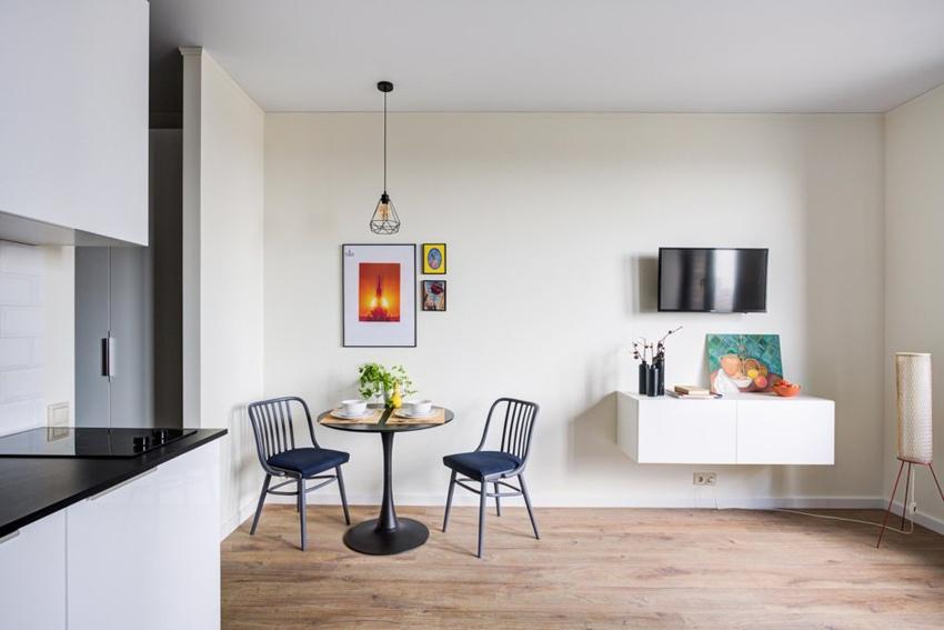 Интерьер квартиры-студии 30 м для сдачи в аренду в Москве.