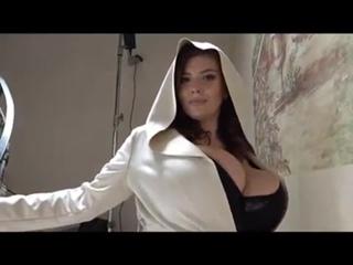 Amateur Xenia Wood posing on stairs boobie in hoodie