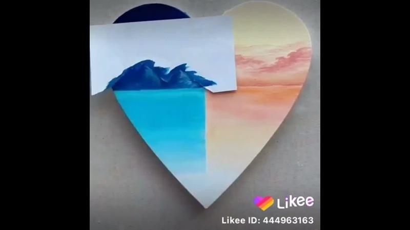 Урок рисование в бумаге с формой сирдечик месте с Likee 2020 1 выпуск