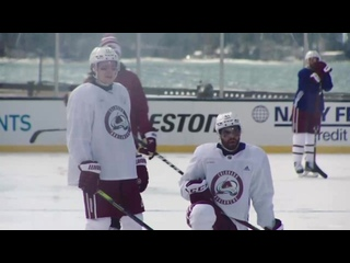 Avs mic'd up for outdoor practice Feb 19, 2021