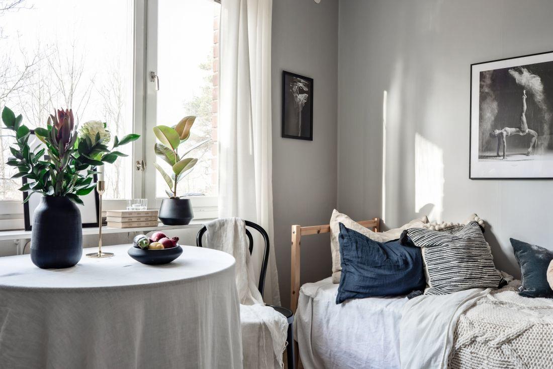 Интерьер маленькой скандинавской квартиры-студии 19 кв.