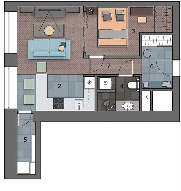 Дизайн квартиры 44 кв.