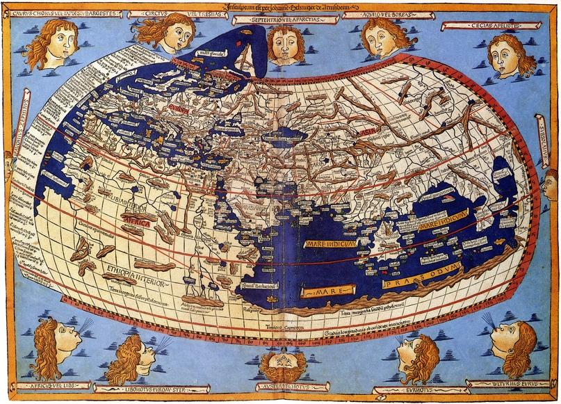 Карта Птолемея. Одно из изображений, созданное Иоганном Шницлером. Cosmographia Germanus (1482)