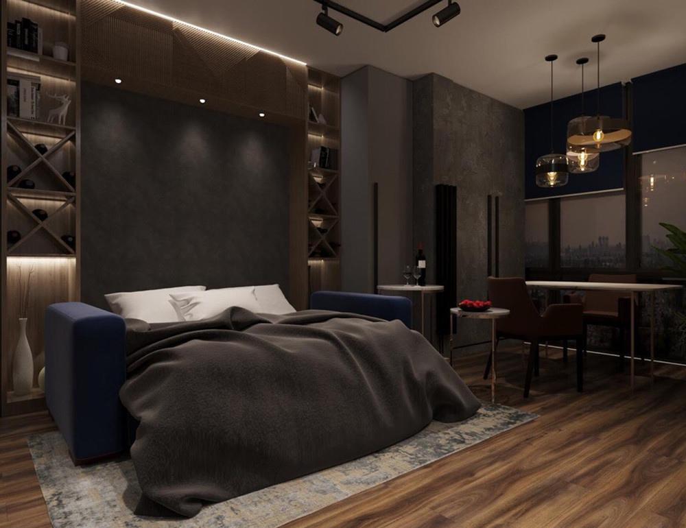 Проект студийной квартиры почти 28 м с присоединенной лоджией.