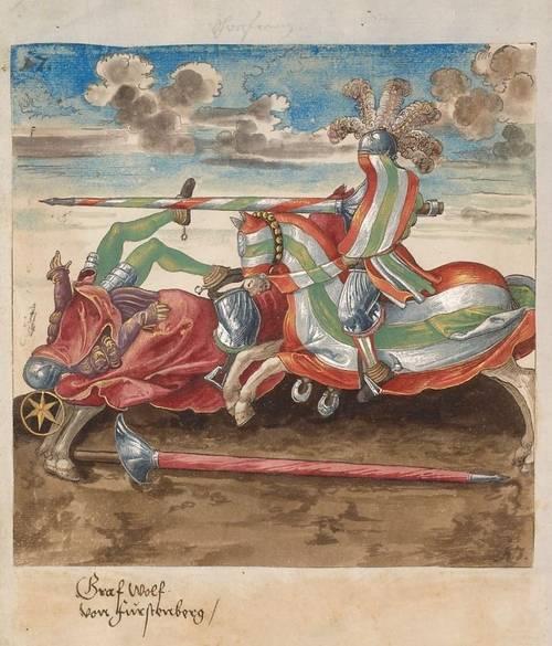 Таранный удар копьем. Раскрашенная гравюра из турнирной книги императора Максимилиана I «Фрейдал». 1512-1515 гг.