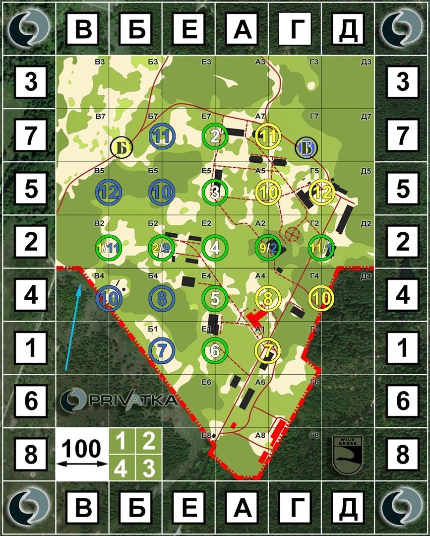 Игровая карта с расположением точек для подрыва