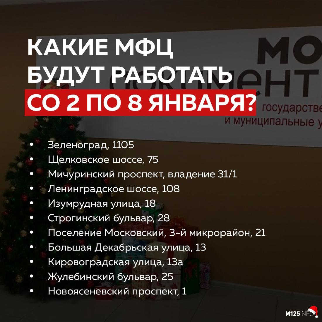 В новогодние праздники в Москве будут работать только 11 дежурных МФЦ.