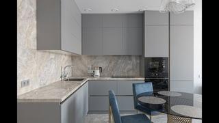 Серая кухня -  Угловая кухня с матовыми фасадами 2021 | Угловая кухня | #КухниЭверест