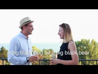 A big black bug bit a big black bear