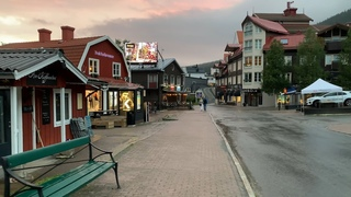 Virtual walk in Åre, Sweden. Charming mountain town at dusk, 4k, natural sound