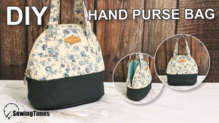 DIY HAND PURSE BAG Round Purse Making Small Tote Sewing Tutorial [sewingtimes]