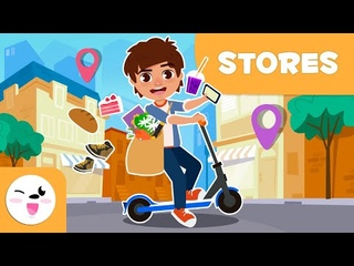 Types of STORES for Kids - Going Shopping Around the City - Vocabulary for Kids