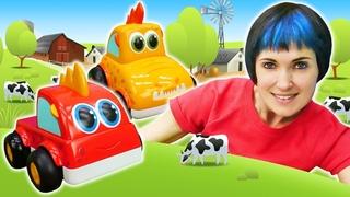 Капуки Кануки и Веселая школа: машинки Мокас ищут животных для фермы! Мультики и игры для детей