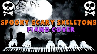 spooky scary skeletons but it's played on piano by 3 ghosts