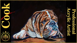 How to Paint a Canadian Bulldog Puppy Full Tutorial Acrylic Painting Plus Quarantine Quickie #42