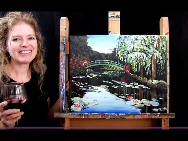 Learn to paint MONET WATER LILY POND with acrylics Paint and Sip at Home Step by Step Tutorial