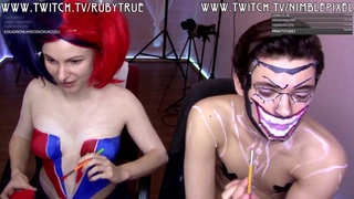 Cosplay Bodypaint The new 52 Harley Quinn and The Joker, make up, face paint