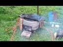 Греем бассейн дровами - мега печка из бочки и автомобильного радиатора.